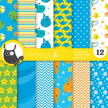 Snorkelling ocean digital paper, commercial use, scrapbook papers - PS725