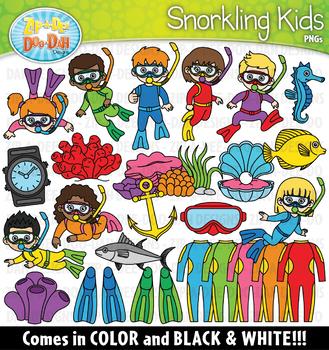 Snorkling Kids Clipart Set {Zip-A-Dee-Doo-Dah Designs}