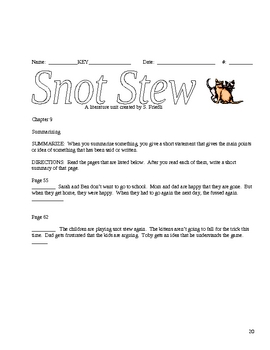 Snot Stew -  Bill Wallace 27 Pages Complete Lit Unit