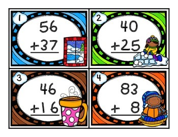 Winter 2-Digit Addition w/ Regrouping Task Cards