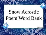 Snow Acrostic Poem Word Bank Power Point