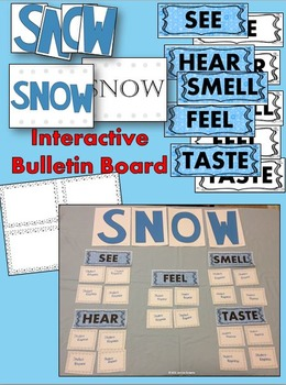 Snow Sensory Imagery Bulletin Board and Writing Activities