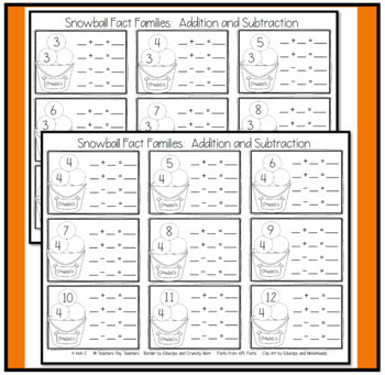 Snowball Fact Families for Addtion and Subtraction
