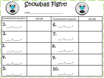 Snow Ball Fight! (Multiplication & Repeated Addition)