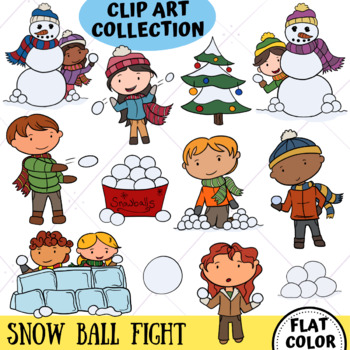 Snow Ball Fight from the Winter Wonder Land Clip Art Series