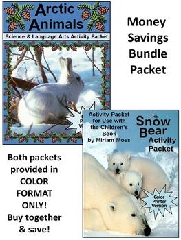 Polar Bear Activities: Snow Bear & Arctic Animals Winter Activity Bundle - Color