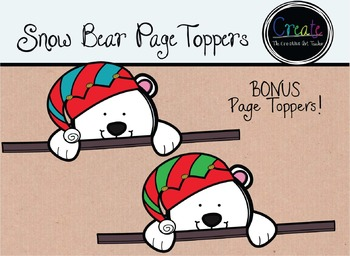 Snow Bear Page Toppers - Digital Clipart