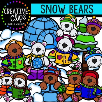 Snow Bears {Creative Clips Digital Clipart}