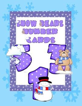 Snow Bears Number Cards - Freebie