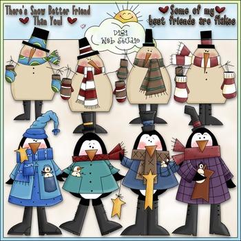 Snow Better Friend Clip Art - Snowman Clip Art - Penguins - CU Clip Art & B&W