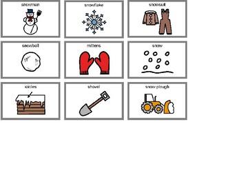Snow Bingo! Single Board [speech therapy and autism]