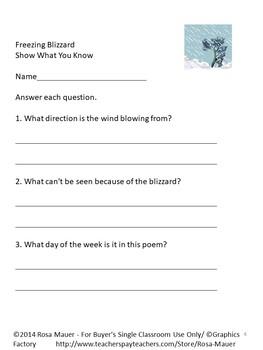 Snow Blizzard Poetry Printables