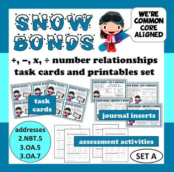 Snow Bonds: +, –, x, and ÷ number relationships task cards ...
