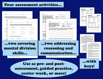 Hit the Slopes: mental division of large numbers task cards & printables (set a)