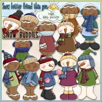 Snow Buddies Clip Art - Dressed Up Snowmen & Gingers Clip