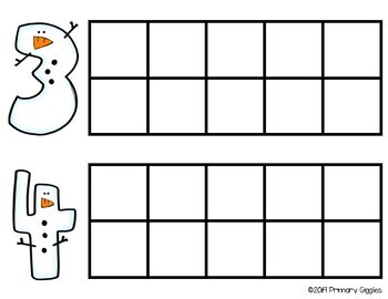 Snow Buddies Ten Frame Activity for Numbers 1-10