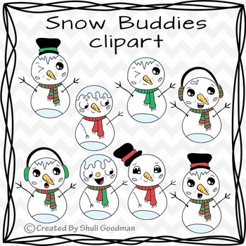 Snow Buddies clipart - cute snowmen