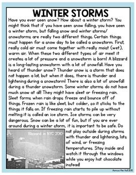 Snow Comprehension Activities
