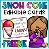 Snow Cone Editable Cards