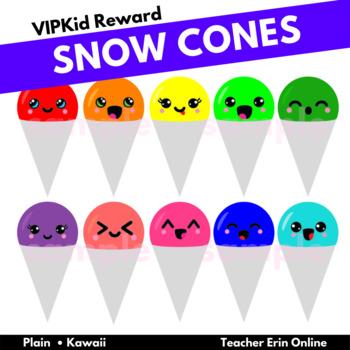 Rainbow Snow Cones - Kawaii/Plain - Clipart - PDF Print - ESL Reward -Decor