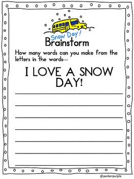 Snow Day 3rd, 4th, 5th, 6th grade