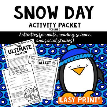 Snow Day Activity Packet #2- Intermediate Grades