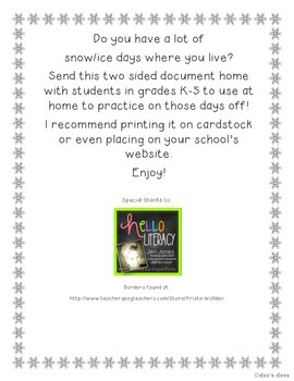 Snow Day Activity Page!