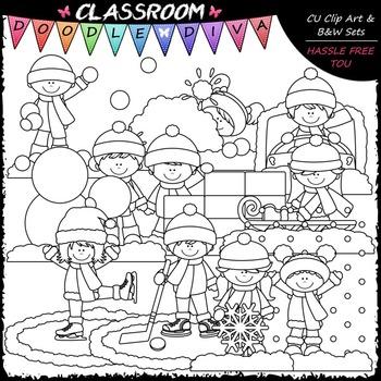Snow Day Clip Art - Winter Clip Art - Kids Clip Art & B&W Set