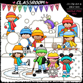 Snow Day Clip Art - Winter Clip Art - Kids Clip Art & B&W Set