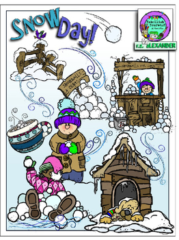 Snow Day Clipart (10 FREE Elements Included) Embellish You
