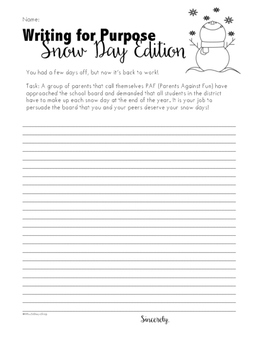 Snow Day Creative Write - Purpose