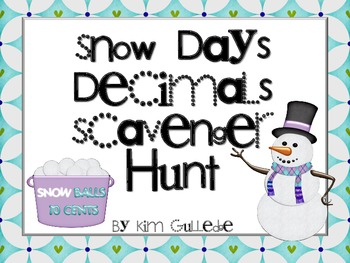 Snow Day Decimals Scavenger Hunt - All Four Operations