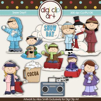 Snow Day!- Digi Clip Art - CU Clip Art