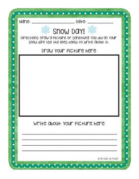 Snow Day Drawing & Writing (English & Spanish) FREEBIE