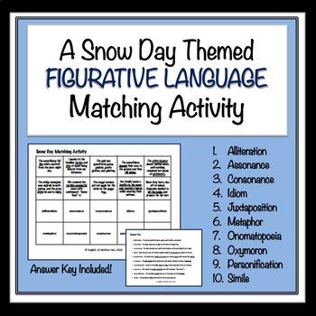 Snow Day Figurative Language Matching Activity