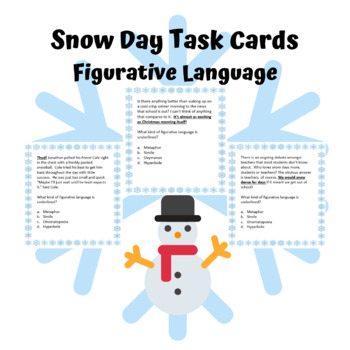 Snow Day Figurative Language Task Cards Winter SNOWDAY!!