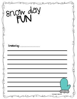 Snow Day Fun Blank Writing Pages