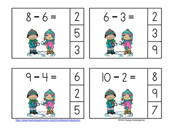 Snow Day Fun Winter Subtraction Math Centers (Minuends to 10)