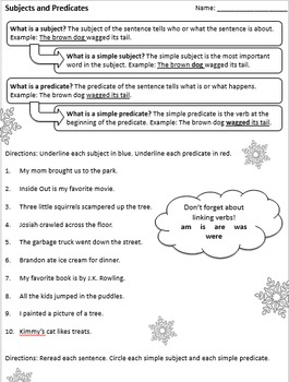 Snow Day Grammar Packet