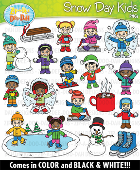 Snow Day Kid Characters Clipart Set — Includes 50 Graphics!