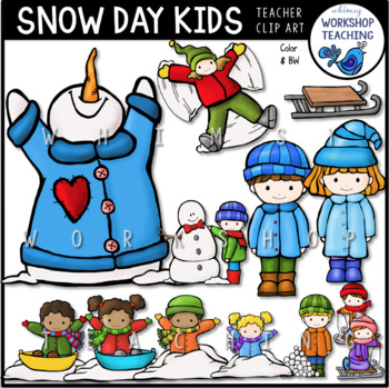 Snow Day Kids Clip Art - Whimsy Workshop Teaching