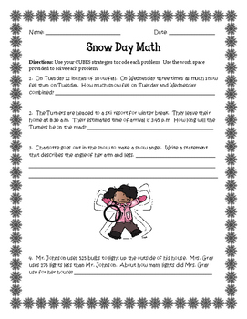 Snow Day Math-Story Problems