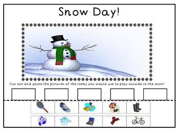 Snow Day Morning Work Sheet