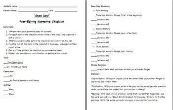 Snow Day! Personal Narrative Peer-Editing Rubric
