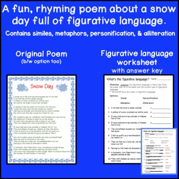 Snow Day Poem- Full of figurative language!