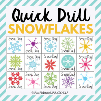 Snow Day Quick Drill {for articulation or fluency therapy & RtI}