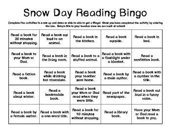 Snow Day Reading Bingo