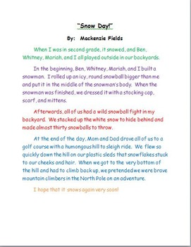 Snow Day Sample Personal Narrative Teacher Modeling Tool By Bethany  Sample Personal Narrative Teacher Modeling Tool