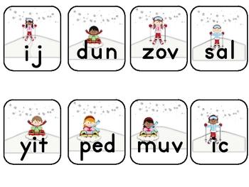 Snow Day Snow Play Nonsense Word Fluency Practice Game