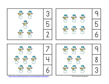 Snow Day Winter Count and Clip Cards (Sets to 12)